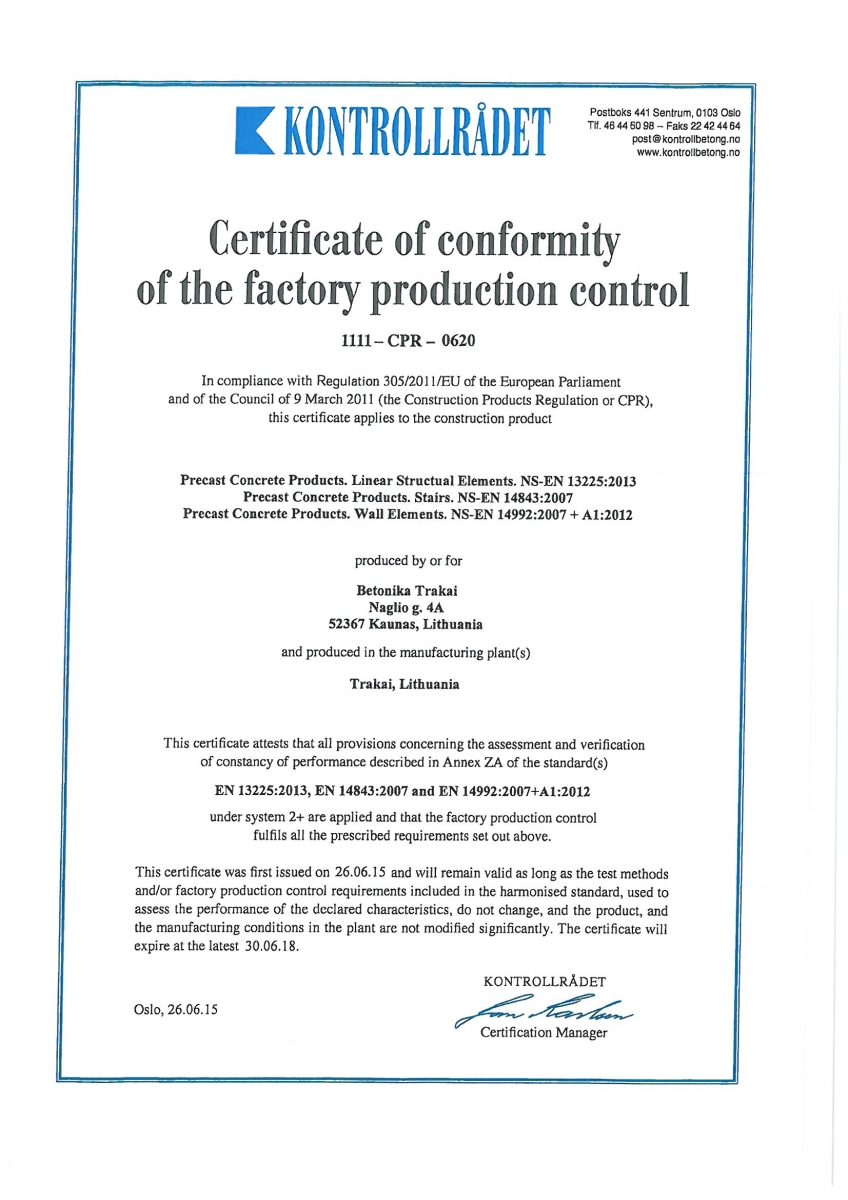 Cement Uab Lt Contact Mail: UAB Betonika Production Quality Assessment Of Sweden And